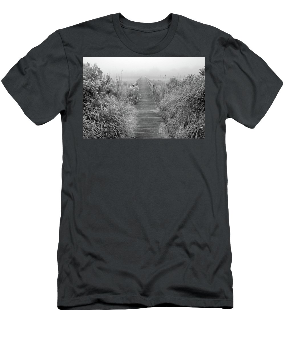 Quogue Wildlife Preserve Men's T-Shirt (Athletic Fit) featuring the photograph Boardwalk In Quogue Wildlife Preserve by Rick Berk