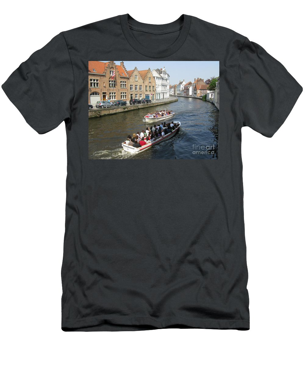 Brugge Men's T-Shirt (Athletic Fit) featuring the photograph Boat Tours In Brugge Belgium by Ausra Huntington nee Paulauskaite