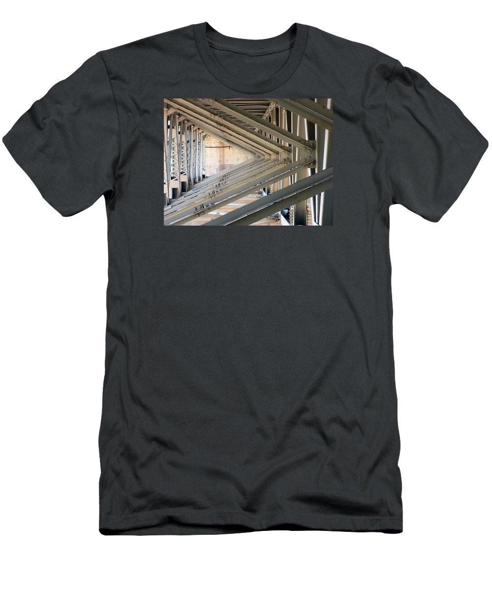 Bridge Men's T-Shirt (Athletic Fit) featuring the photograph Bridge Geometry by Elaine Mikkelstrup