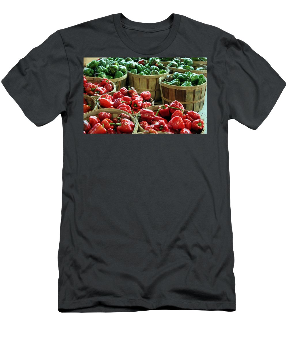 Farmers Market Men's T-Shirt (Athletic Fit) featuring the photograph Bushels Of Green And Red by Kristin Elmquist