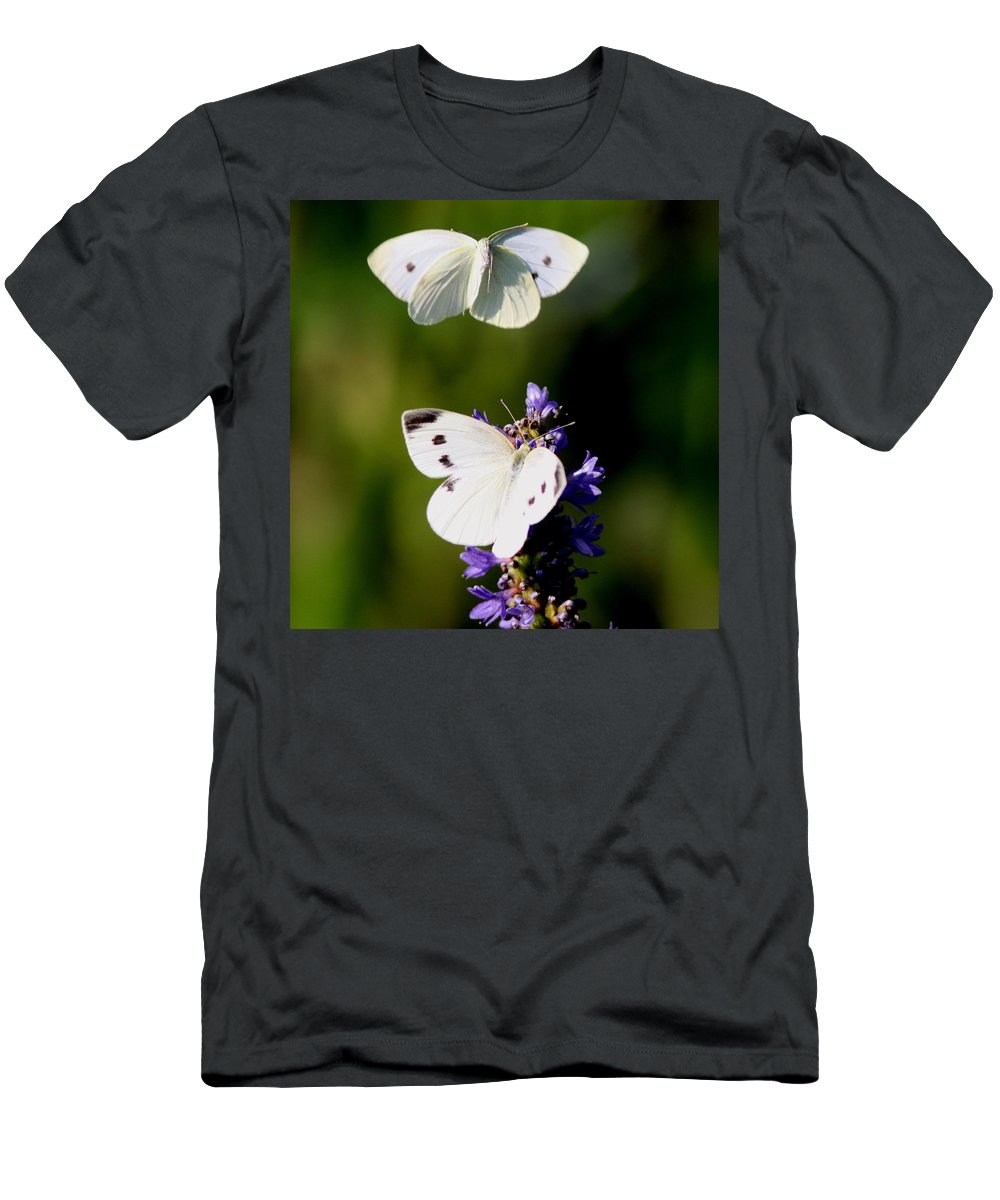 Yellow Cabbage Butterfly Men's T-Shirt (Athletic Fit) featuring the photograph Butterfly - Visiting by Travis Truelove