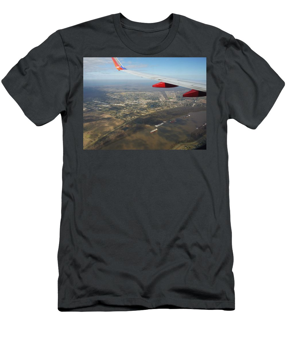 Airplane Men's T-Shirt (Athletic Fit) featuring the photograph By Water By Air by Anthony Walker Sr