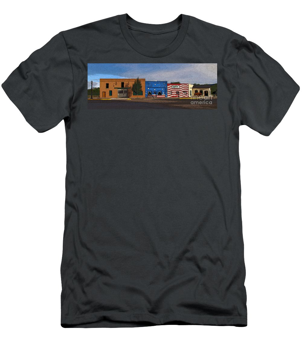 Colorado Men's T-Shirt (Athletic Fit) featuring the photograph Canon City Facades - Posterized by Rich Walter