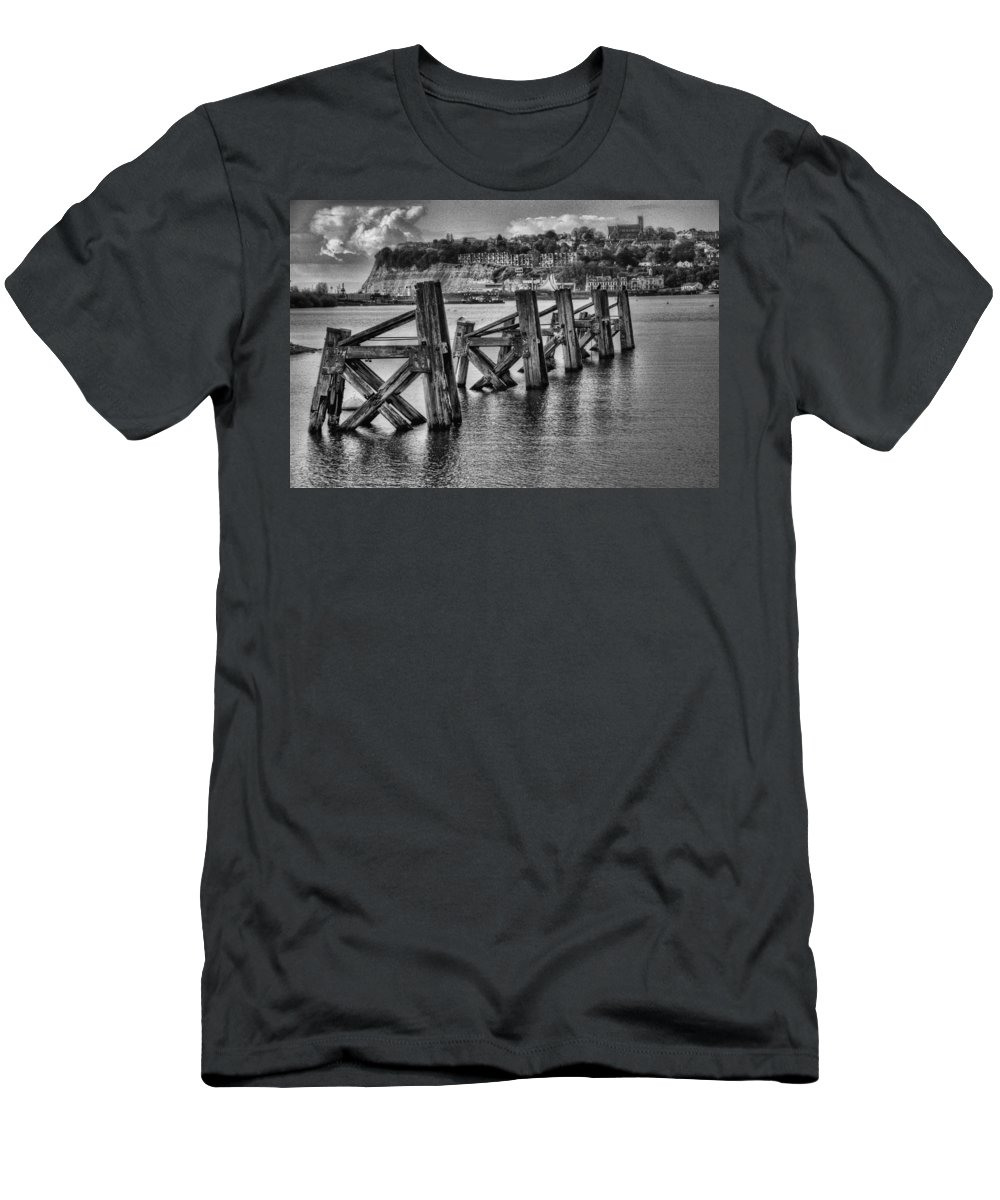 Cardiff Bay Jetty Men's T-Shirt (Athletic Fit) featuring the photograph Cardiff Bay Old Jetty Supports Mono by Steve Purnell
