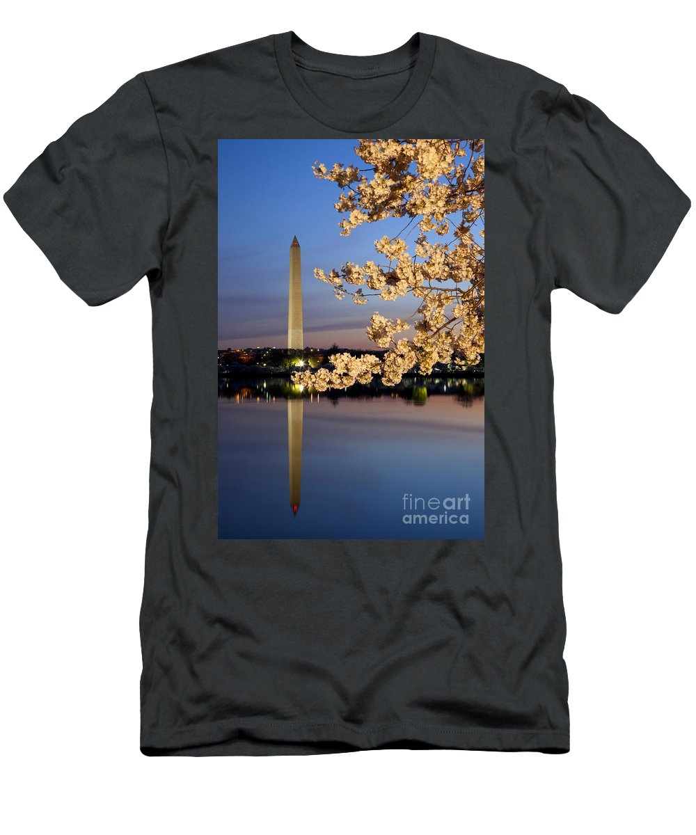 Dawn Men's T-Shirt (Athletic Fit) featuring the photograph Cherry Blossoms by Brian Jannsen