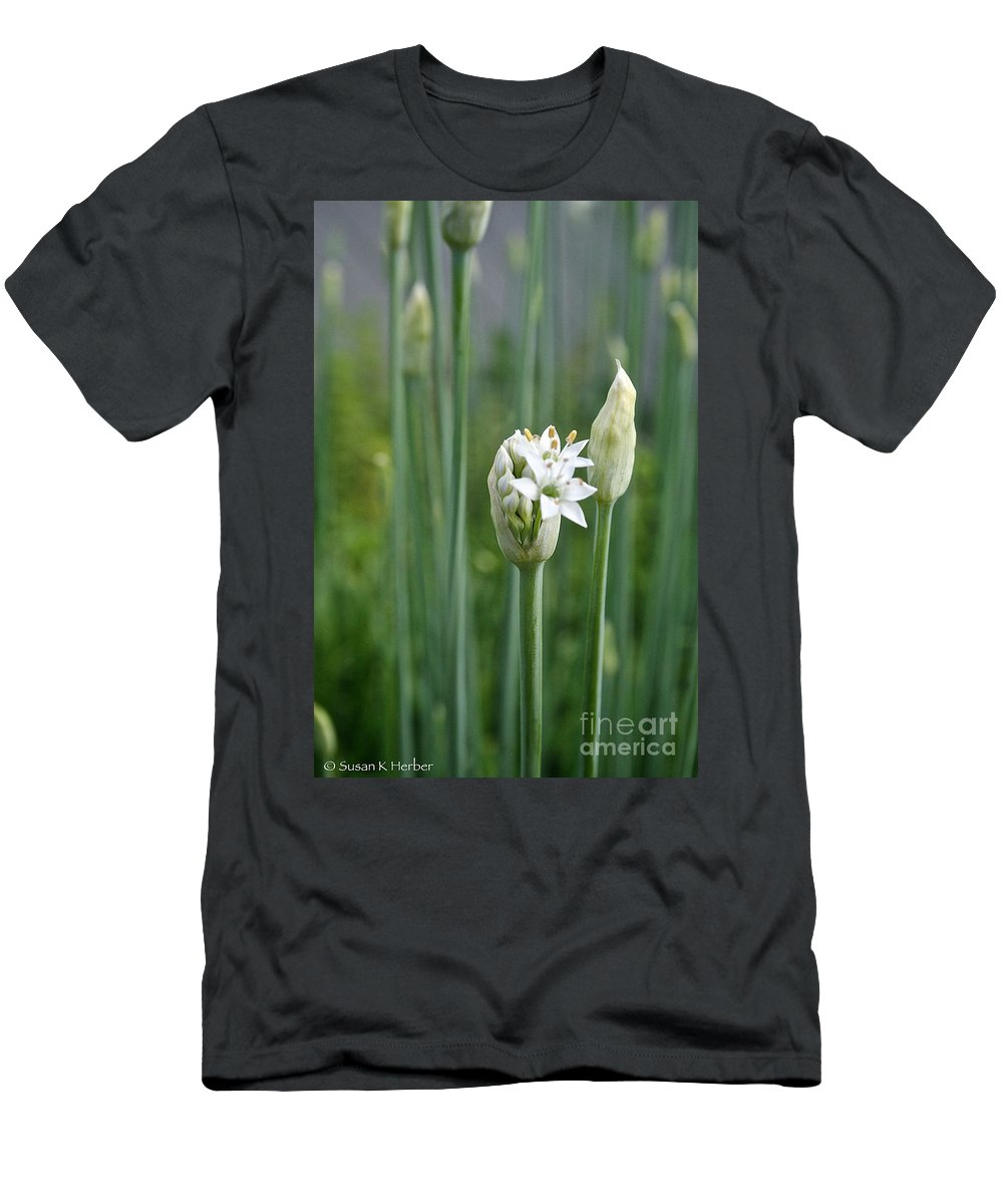 Plant Men's T-Shirt (Athletic Fit) featuring the photograph Chive Fields by Susan Herber