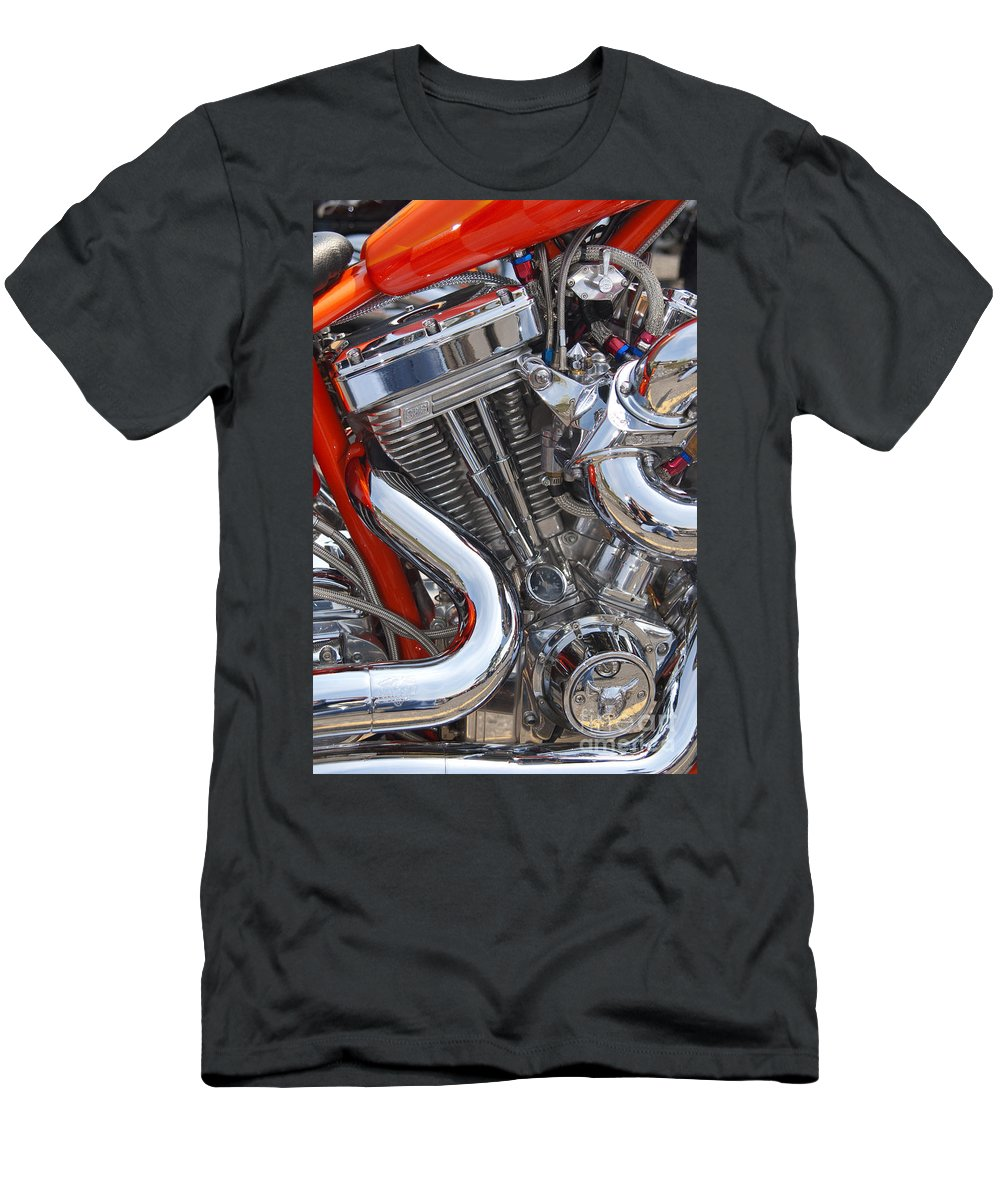 Chopper Men's T-Shirt (Athletic Fit) featuring the photograph Chopper Engine by Paul W Faust - Impressions of Light