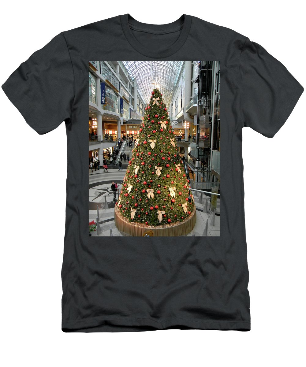 Christmas Men's T-Shirt (Athletic Fit) featuring the photograph Christmas At The Eaton's Centre by Marwan George Khoury