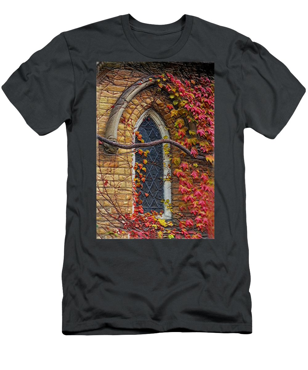 Church Men's T-Shirt (Athletic Fit) featuring the photograph Church Window Autumn by Andrew Fare