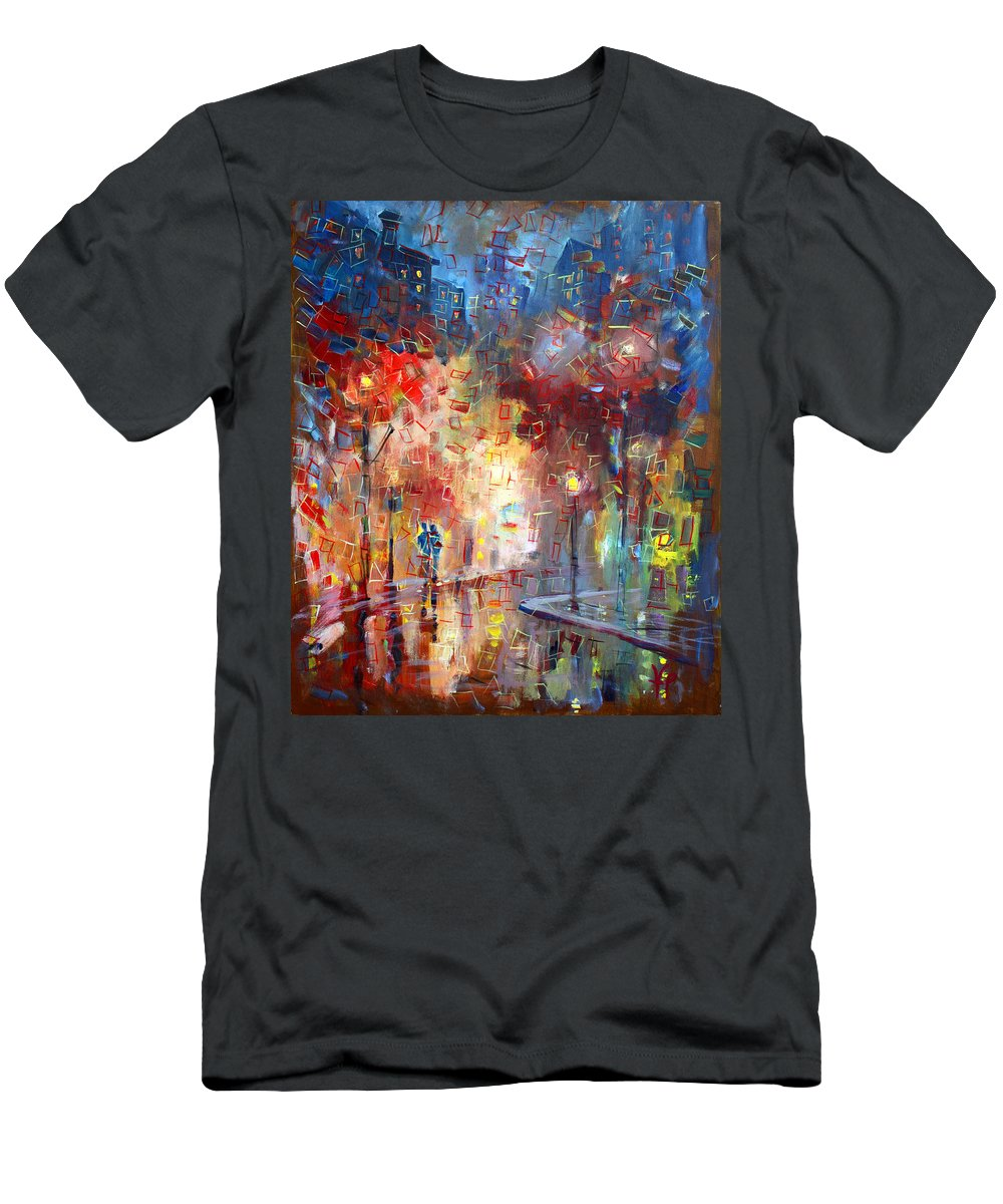 City Street Men's T-Shirt (Athletic Fit) featuring the painting City Street by Viola El