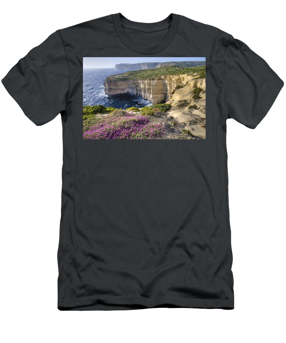 Body Of Water Men's T-Shirt (Athletic Fit) featuring the photograph Cliffs Along Ocean With Wildflowers by Philippe Widling