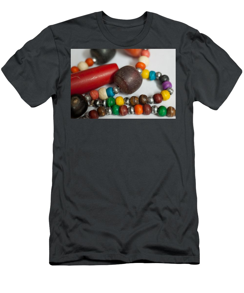 Beads Men's T-Shirt (Athletic Fit) featuring the photograph Colorful Beads In Chains by Ashish Agarwal