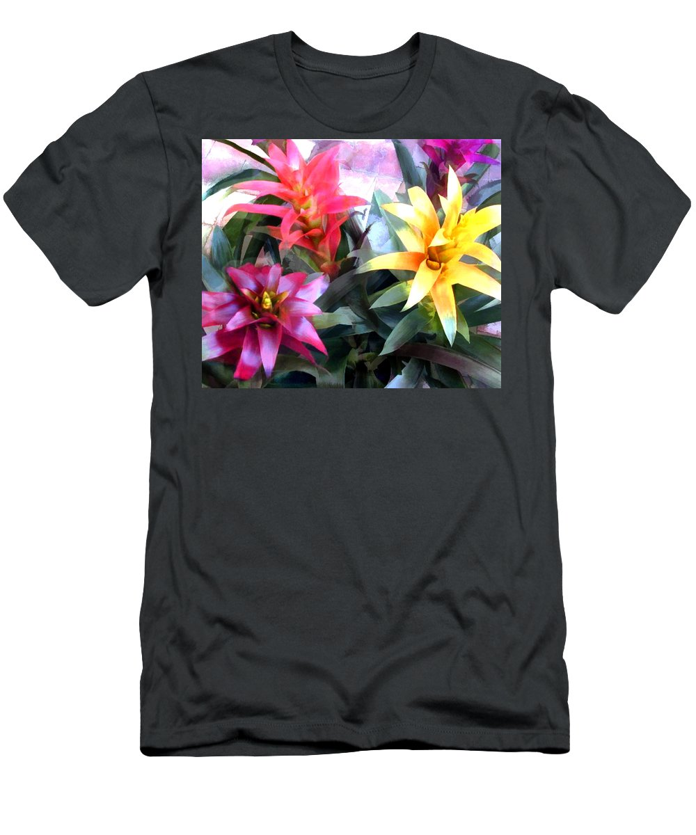 Flower Flowers Garden Bromeliad Tropical Succulents Flora Floral Nature Natural Bloom Blooms Blossoms Blossom Bouquet Arrangement Bromeliads Colorful Plant Plants Botanical Botanic Blooming Gardens Gardening Tropical Annual Annuals Perennial Perennials Bulb Bulbs Men's T-Shirt (Athletic Fit) featuring the painting Colorful Mixed Bromeliads by Elaine Plesser