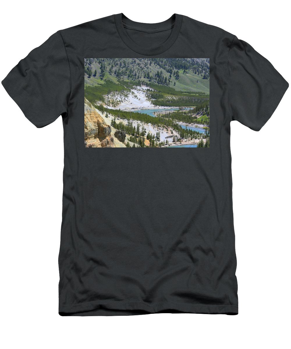 Yellowstone Men's T-Shirt (Athletic Fit) featuring the photograph Colorful Yellowstone Valley by Carol Groenen