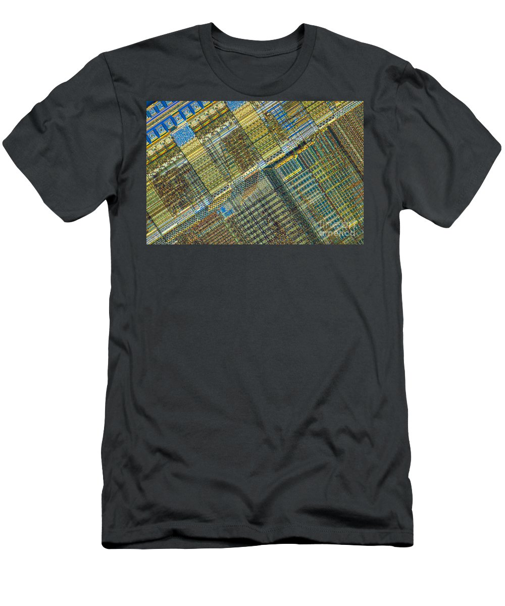 Science Men's T-Shirt (Athletic Fit) featuring the photograph Computer Chip by Michael W. Davidson
