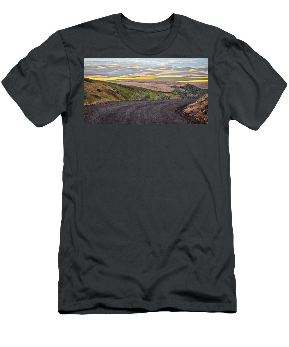 Roads Men's T-Shirt (Athletic Fit) featuring the photograph Country Road by Steve McKinzie