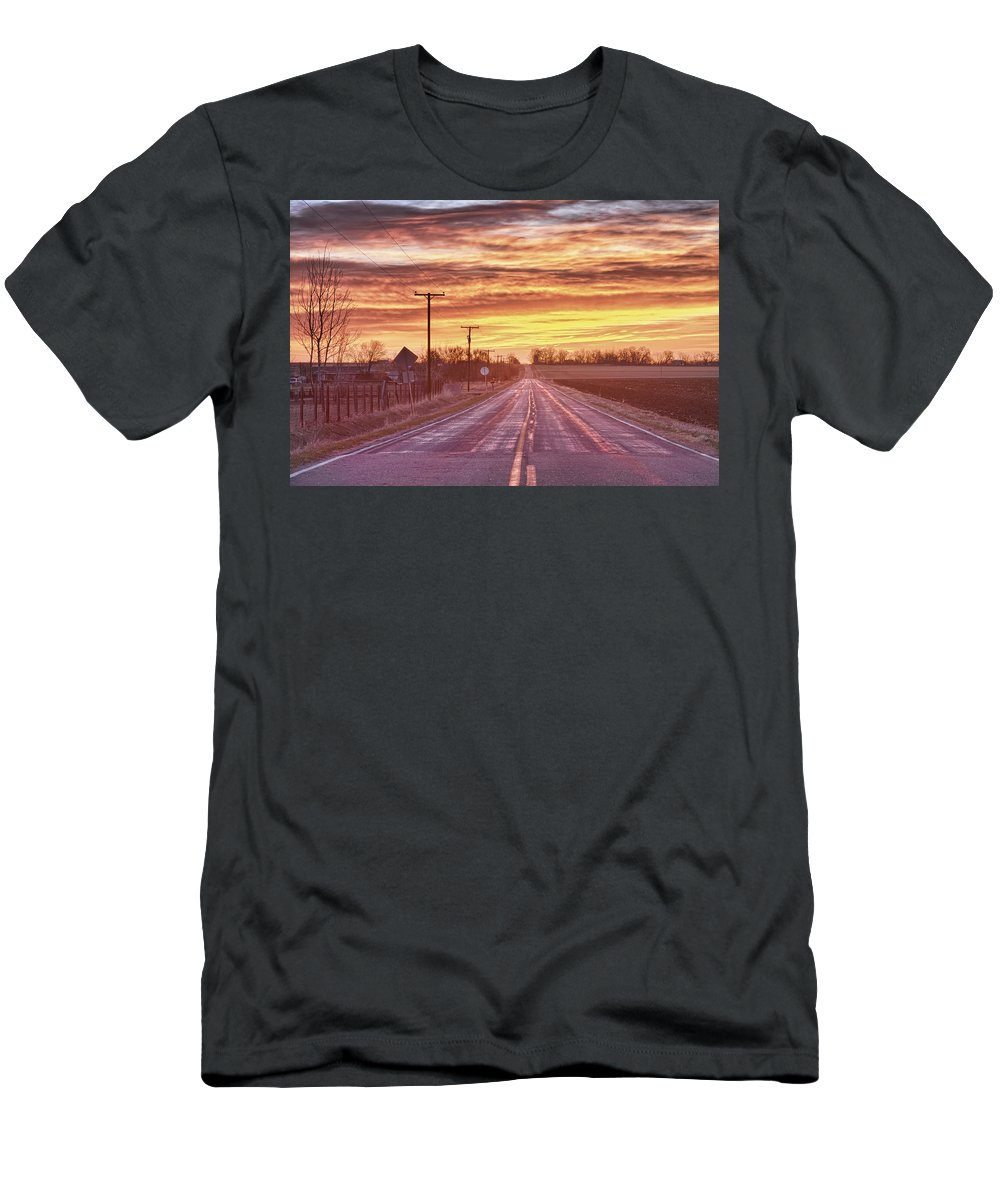 Country Men's T-Shirt (Athletic Fit) featuring the photograph Country Road Sunrise by James BO Insogna