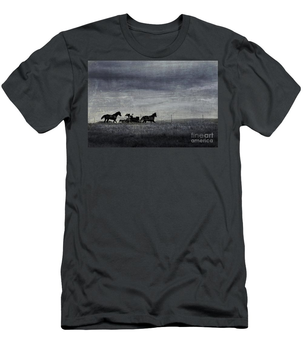 Wagon Men's T-Shirt (Athletic Fit) featuring the photograph Country Wagon by Perry Webster