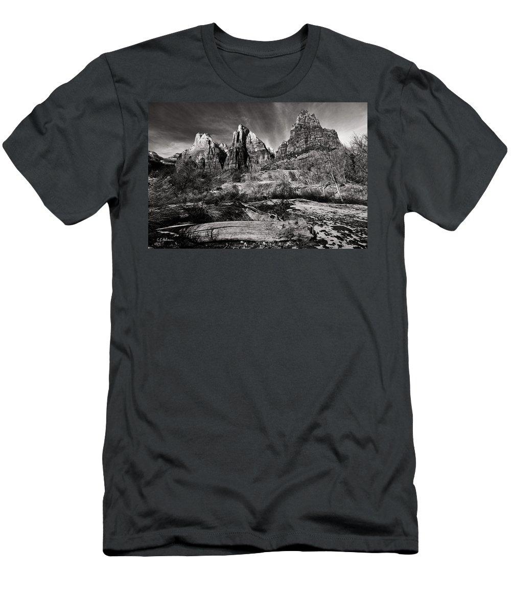 Art Men's T-Shirt (Athletic Fit) featuring the photograph Court Of The Patriarchs - Bw by Christopher Holmes