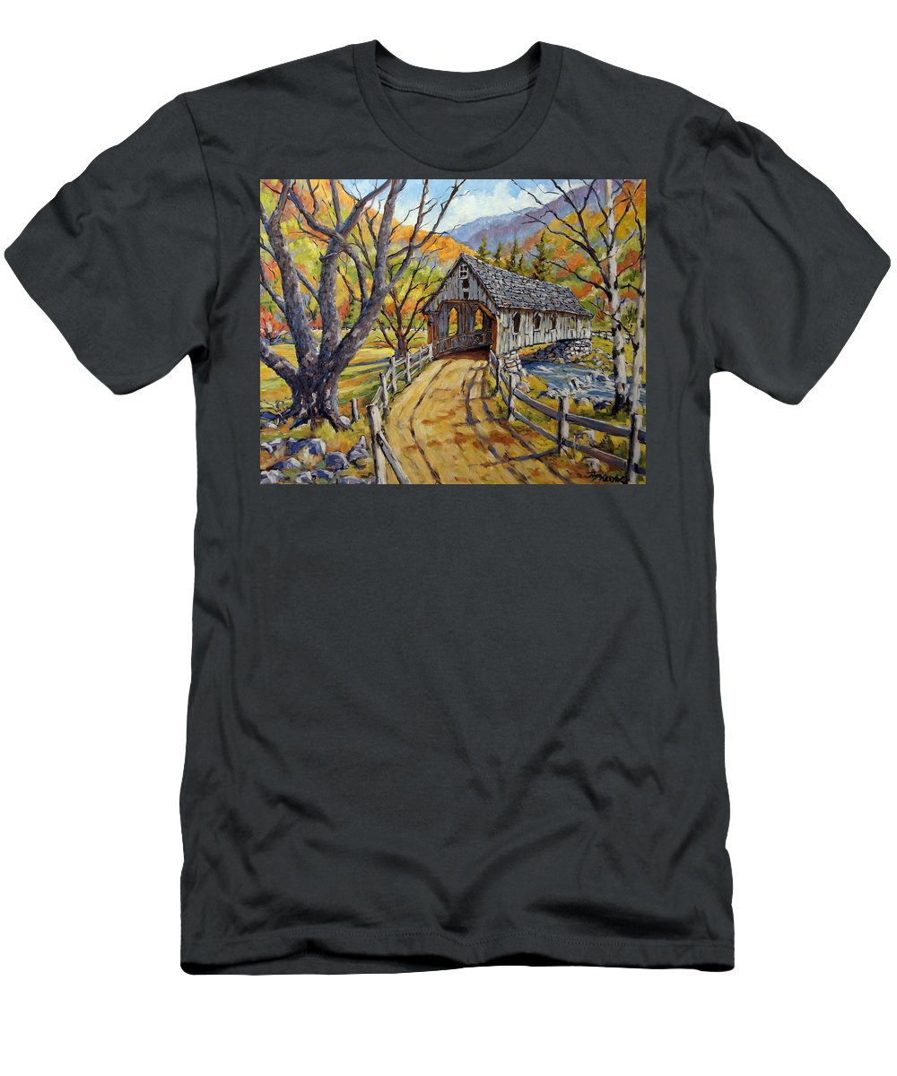 Art Men's T-Shirt (Athletic Fit) featuring the painting Covered Bridge 04 by Richard T Pranke