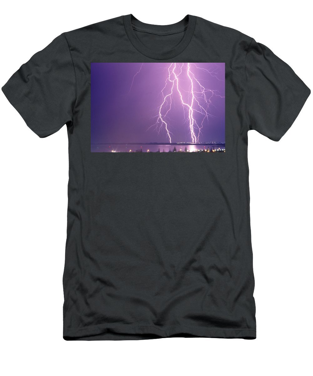 Lightning Men's T-Shirt (Athletic Fit) featuring the photograph Crazy Night by Robert Caddy