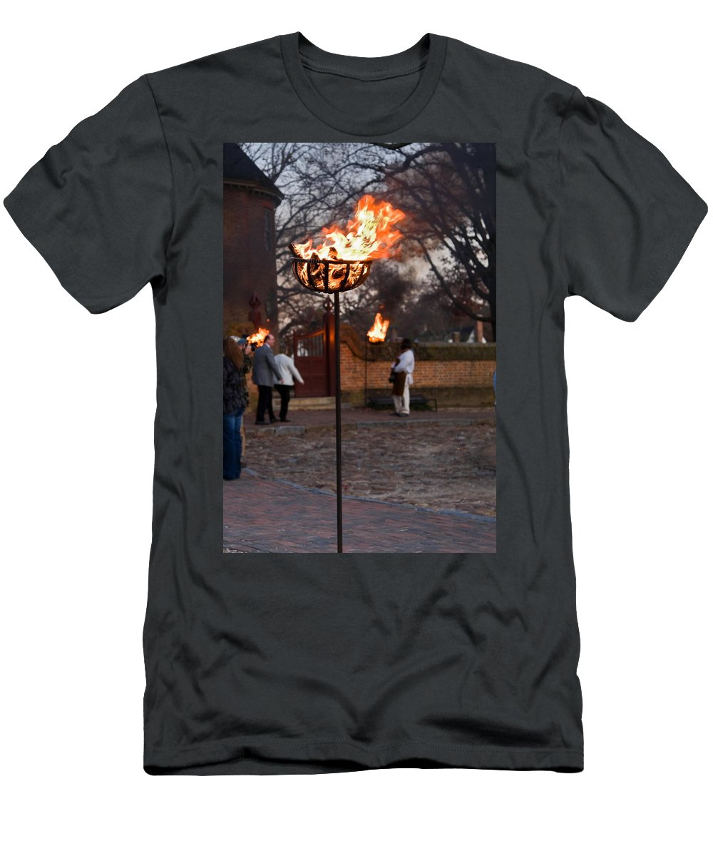 Cressets Burning Men's T-Shirt (Athletic Fit) featuring the photograph Cressets Light The Way by Sally Weigand