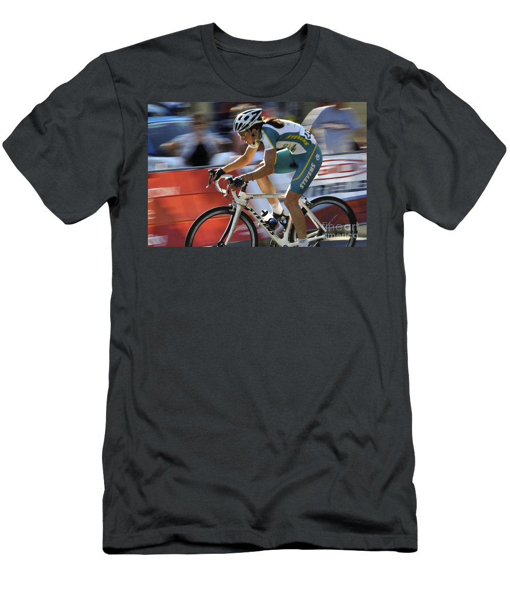 Criterium Men's T-Shirt (Athletic Fit) featuring the photograph Criterium Bicycle Race 2 by Bob Christopher