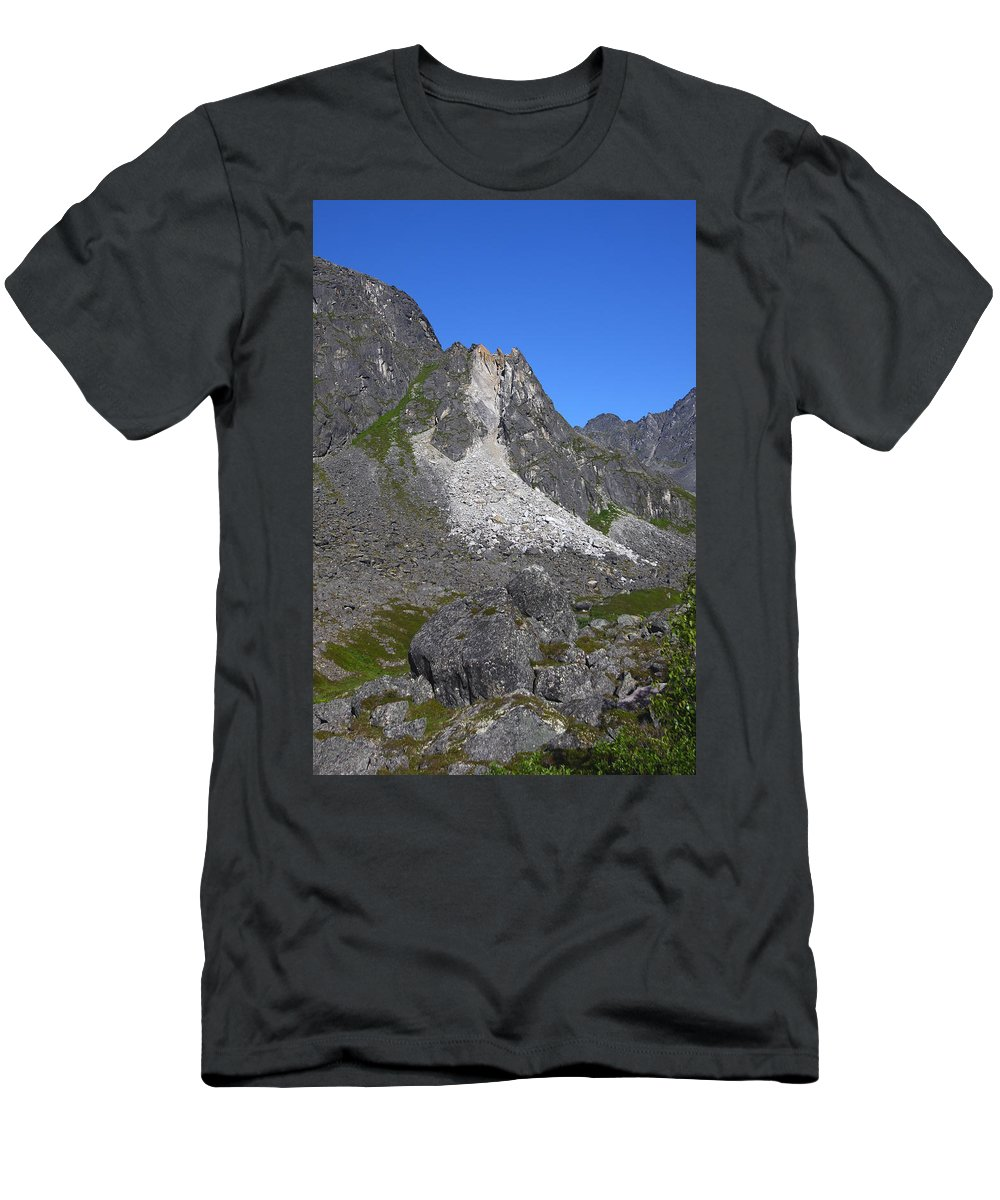 Doug Lloyd Men's T-Shirt (Athletic Fit) featuring the photograph Crumble Mountain by Doug Lloyd