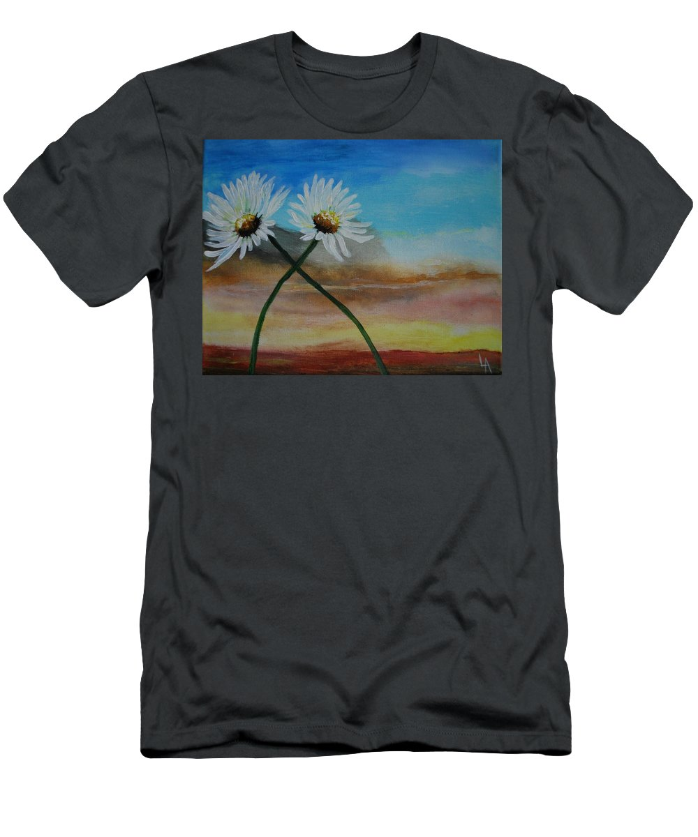 Daisy Men's T-Shirt (Athletic Fit) featuring the painting Daisy Mates by Leslie Allen