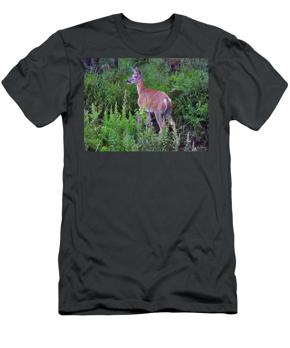 Deer Men's T-Shirt (Athletic Fit) featuring the photograph Deer In The Marsh by Nancy Griswold