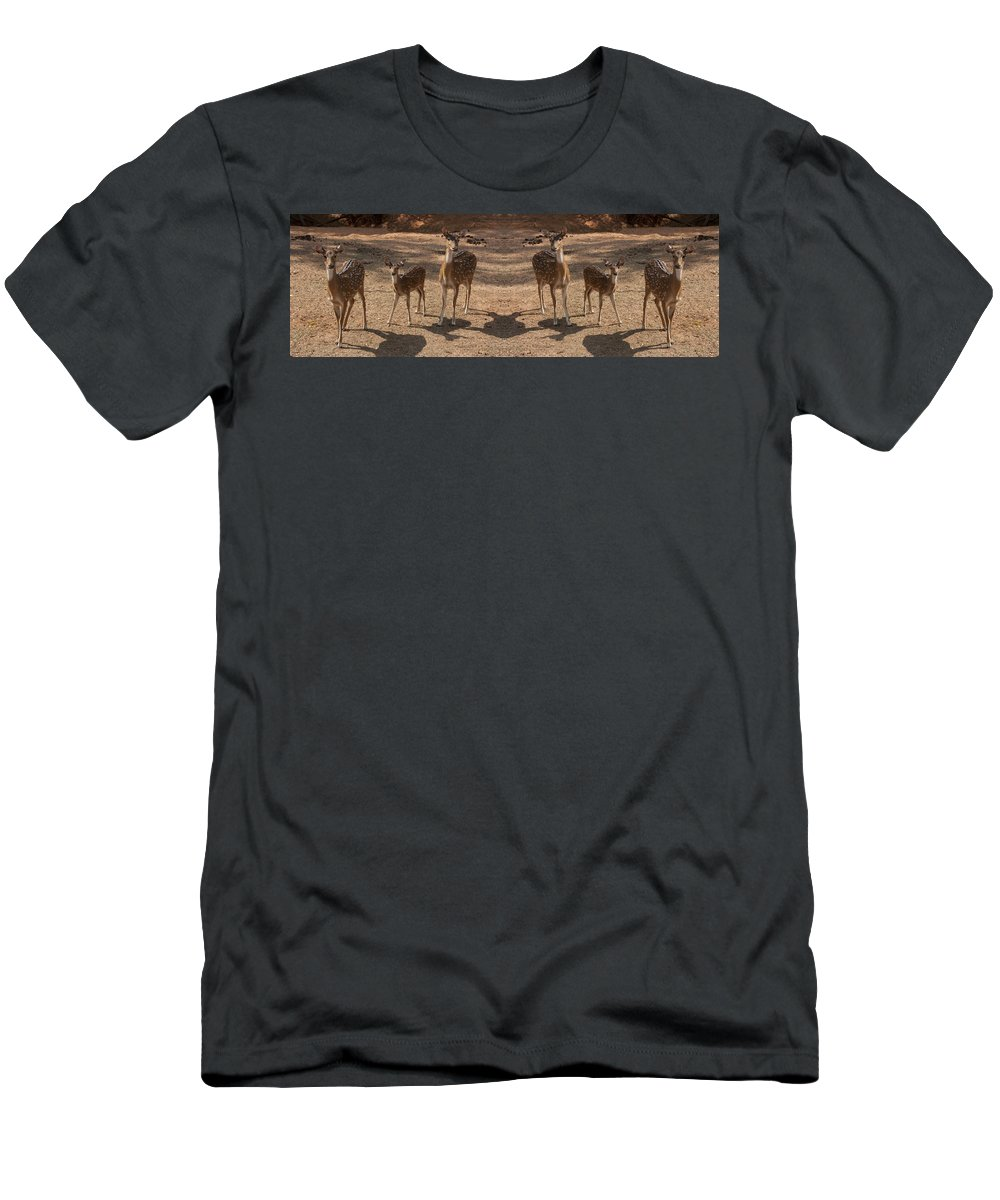 Deer Men's T-Shirt (Athletic Fit) featuring the photograph Deer Symmetry by Douglas Barnard
