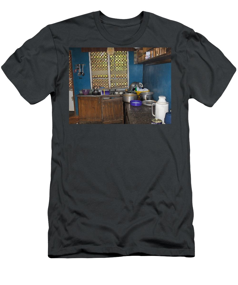 Kitchen Men's T-Shirt (Athletic Fit) featuring the photograph Dirty Dishes Nigeria by Amy Hosp
