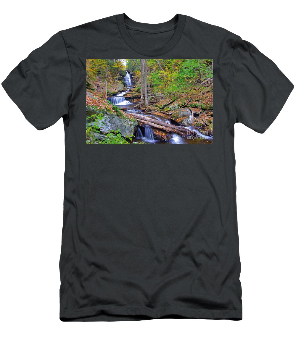 Pennsylvania Men's T-Shirt (Athletic Fit) featuring the photograph Distant Ozone Falls And Rapids In Autumn by Rich Walter