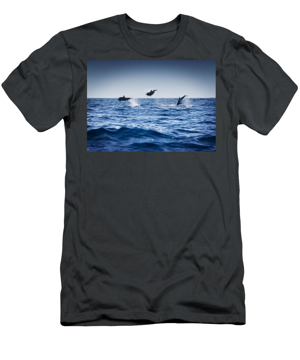 Animal Men's T-Shirt (Athletic Fit) featuring the photograph Dolphins Playing In The Ocean by Darren Greenwood