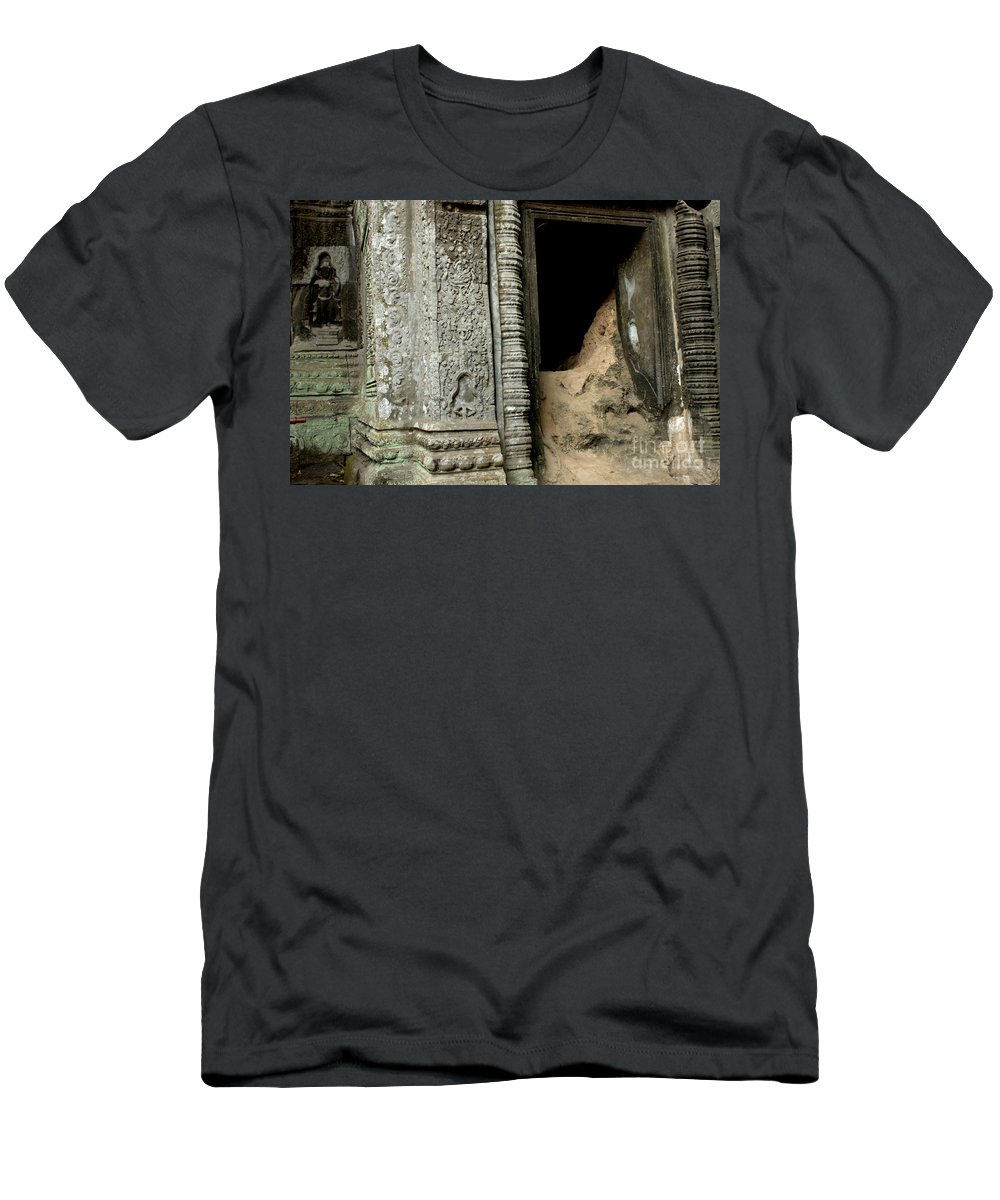 Cambodian Youth Men's T-Shirt (Athletic Fit) featuring the photograph Doorway Ankor Wat by Bob Christopher