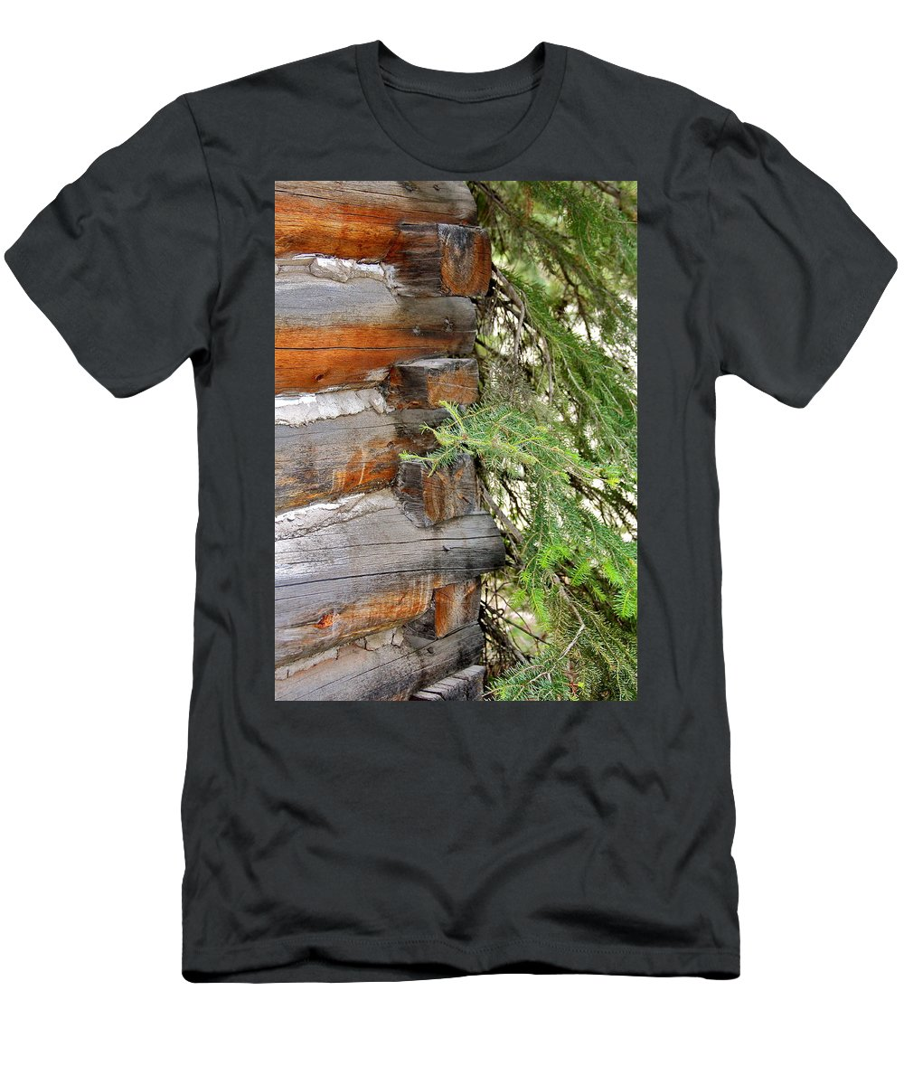 Old Men's T-Shirt (Athletic Fit) featuring the photograph Dovetail Log Construction by Karon Melillo DeVega