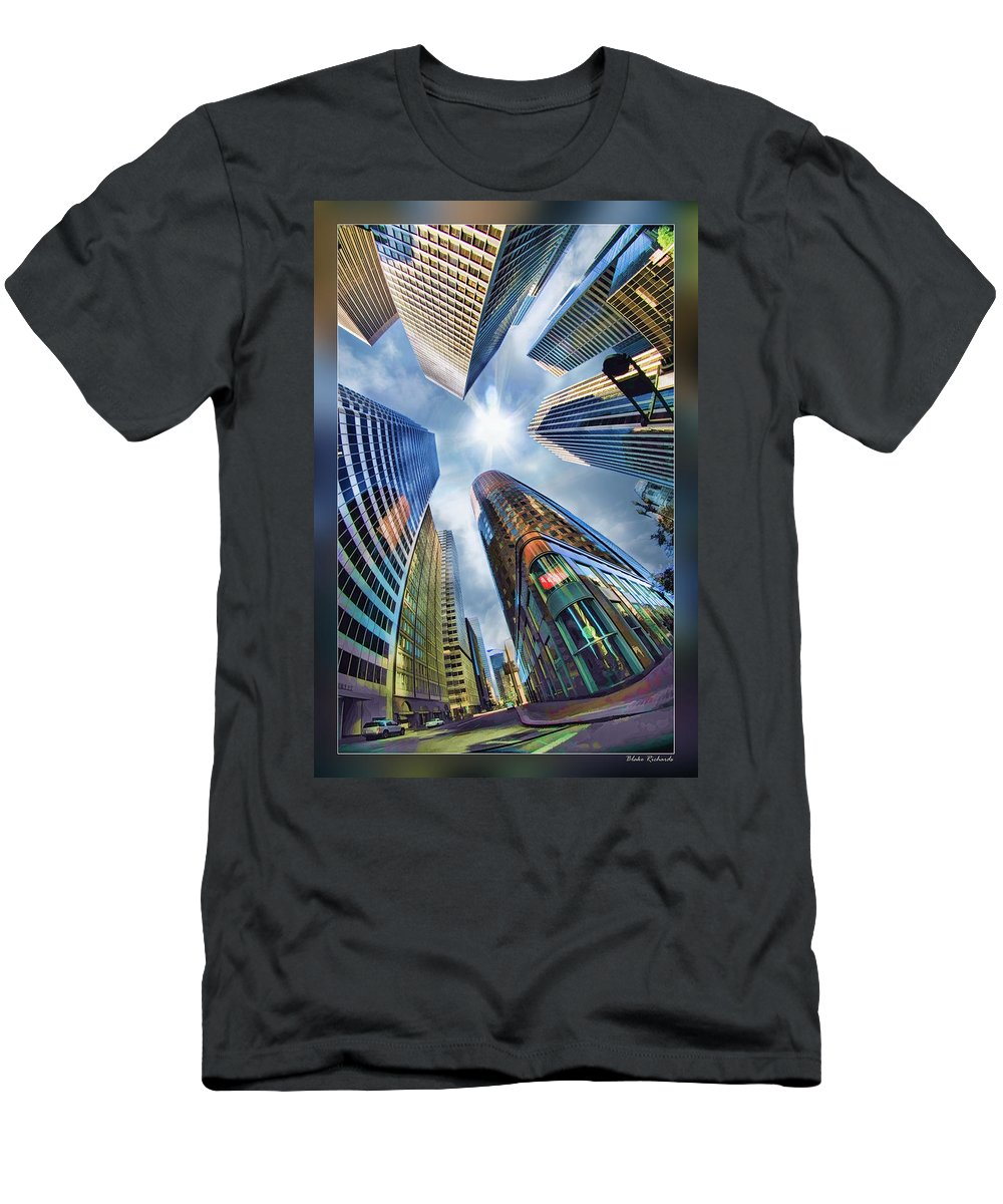 Art Photography Men's T-Shirt (Athletic Fit) featuring the photograph Downtown Sunstream by Blake Richards