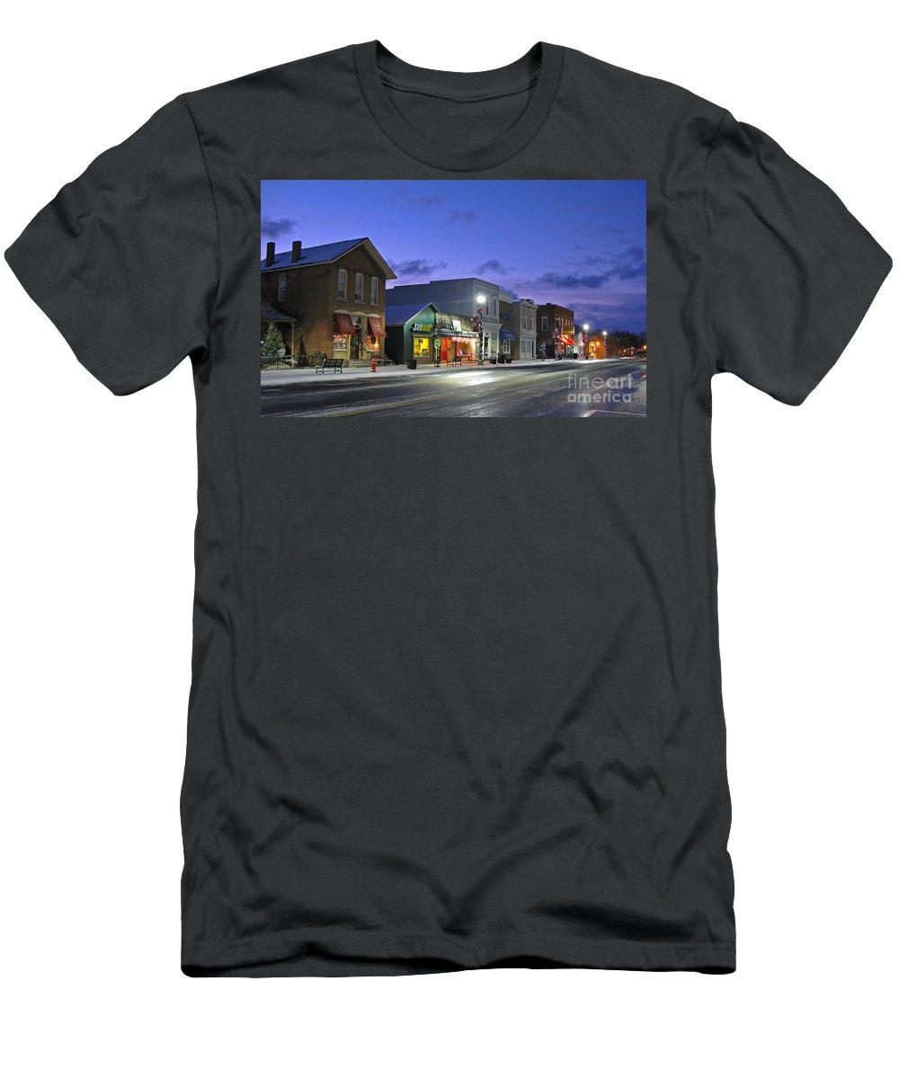 Waterville Ohio Men's T-Shirt (Athletic Fit) featuring the photograph Downtown Waterville At Christmastime by Jack Schultz