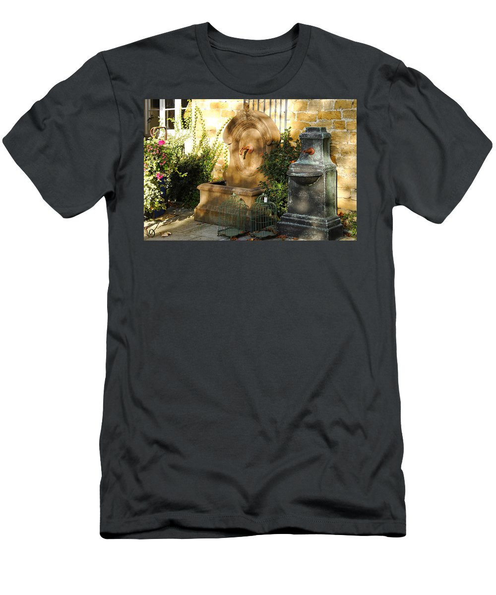 Britain Men's T-Shirt (Athletic Fit) featuring the photograph Drinking Fountains For Sale - Broadway by Rod Johnson