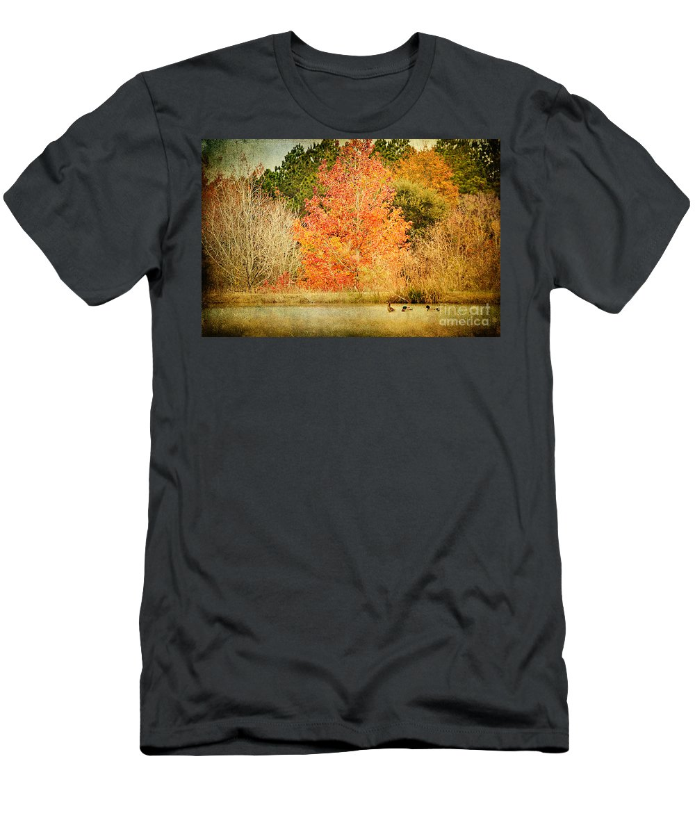 Pond Men's T-Shirt (Athletic Fit) featuring the photograph Ducks In An Autumn Pond by Joan McCool
