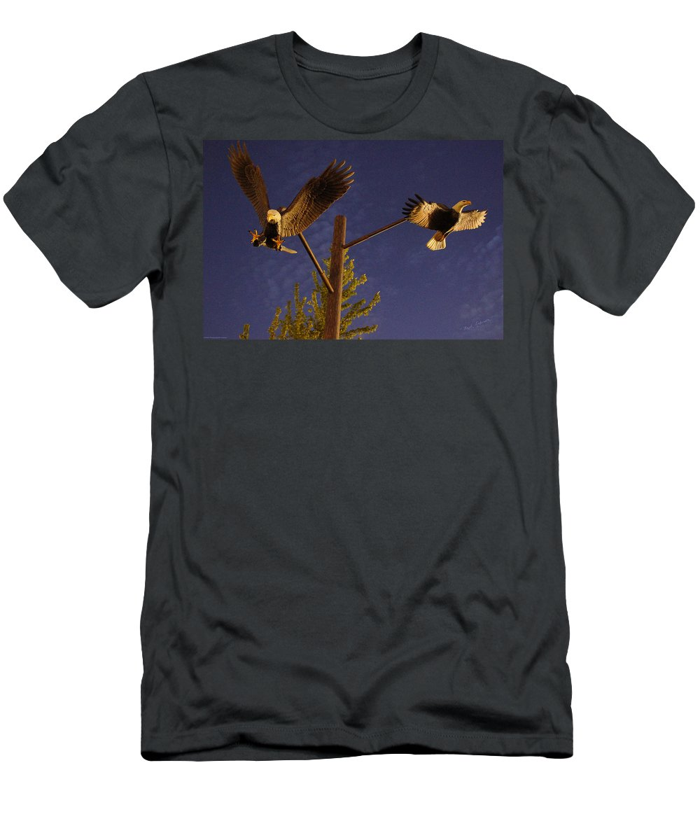 Bald Eagles Men's T-Shirt (Athletic Fit) featuring the photograph Eagles Suspended by Mick Anderson