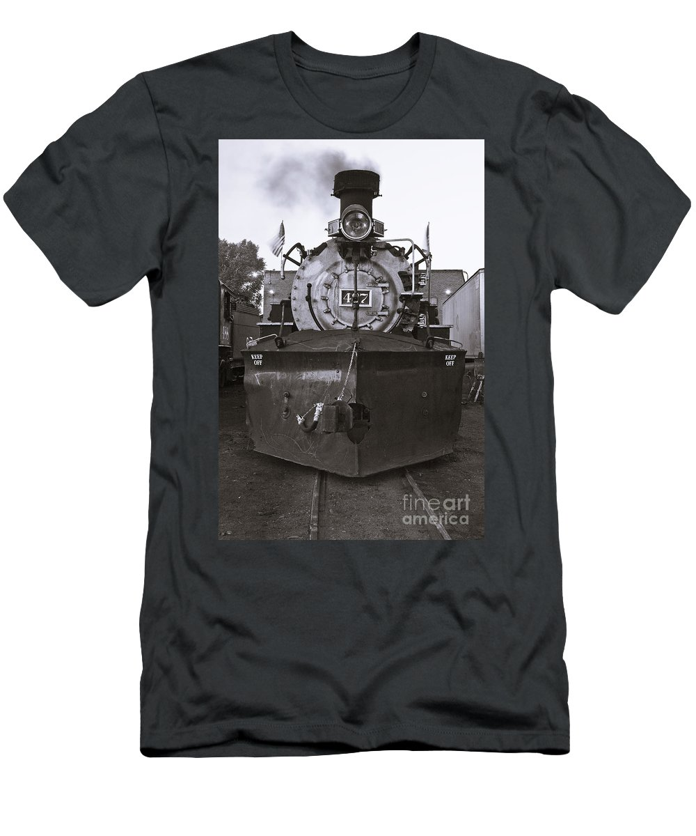 Drgw Men's T-Shirt (Athletic Fit) featuring the photograph Early Call - Bw by Tim Mulina
