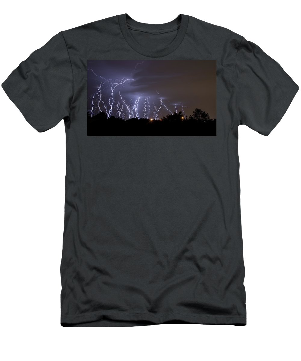 Atmosphere Men's T-Shirt (Athletic Fit) featuring the photograph Electric Avenue by Ricky Barnard