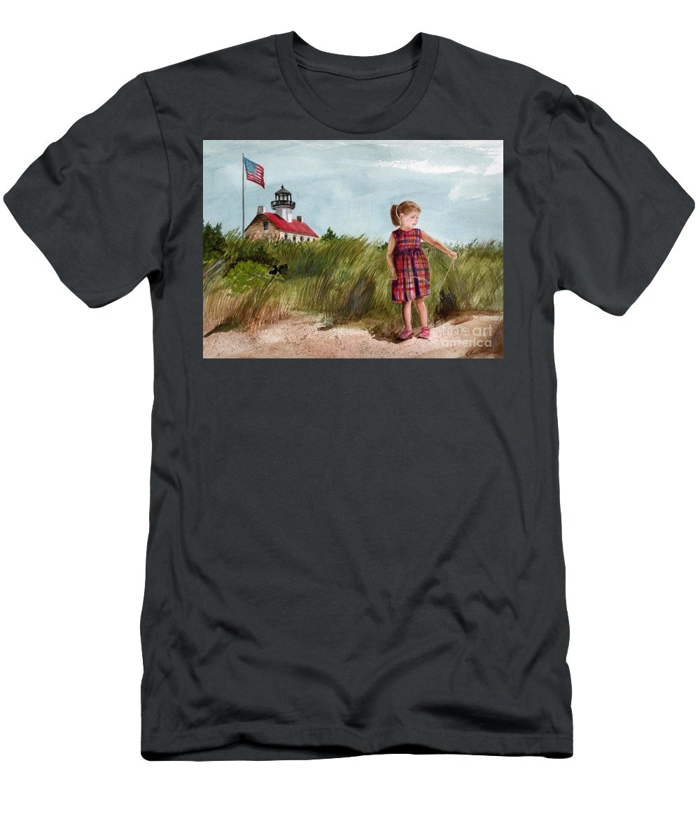 East Point Lighthouse Men's T-Shirt (Athletic Fit) featuring the painting Ella At East Point Light by Nancy Patterson