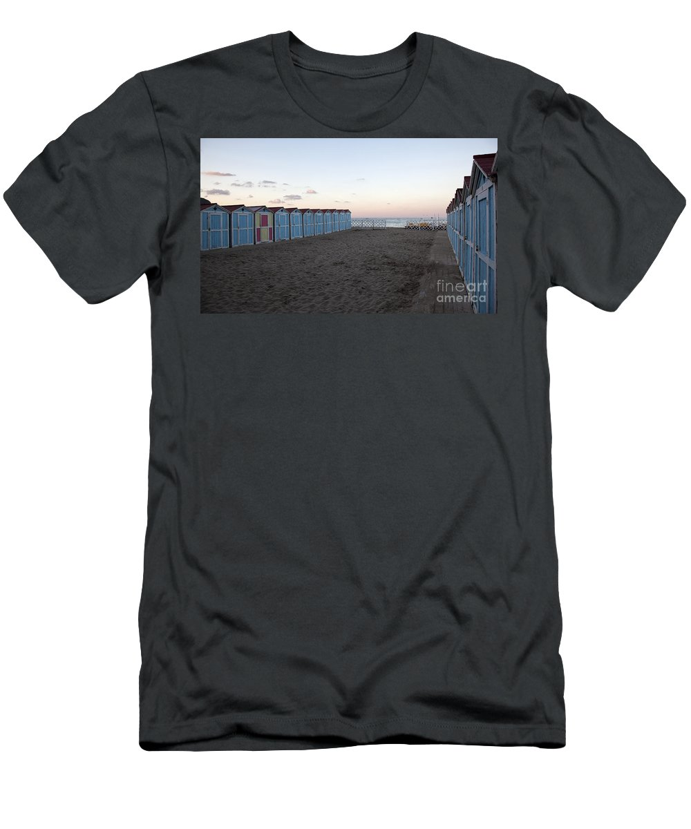 Beach Men's T-Shirt (Athletic Fit) featuring the photograph End Of Day - Mondello Beach by Madeline Ellis