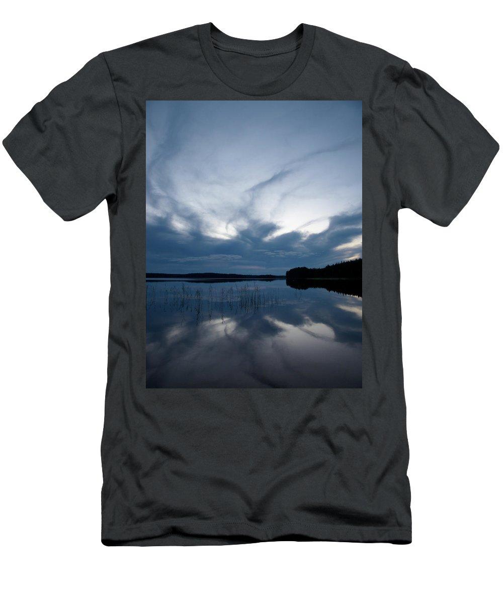 Jouko Lehto Men's T-Shirt (Athletic Fit) featuring the photograph Evening Clouds Over Haukkajarvi by Jouko Lehto