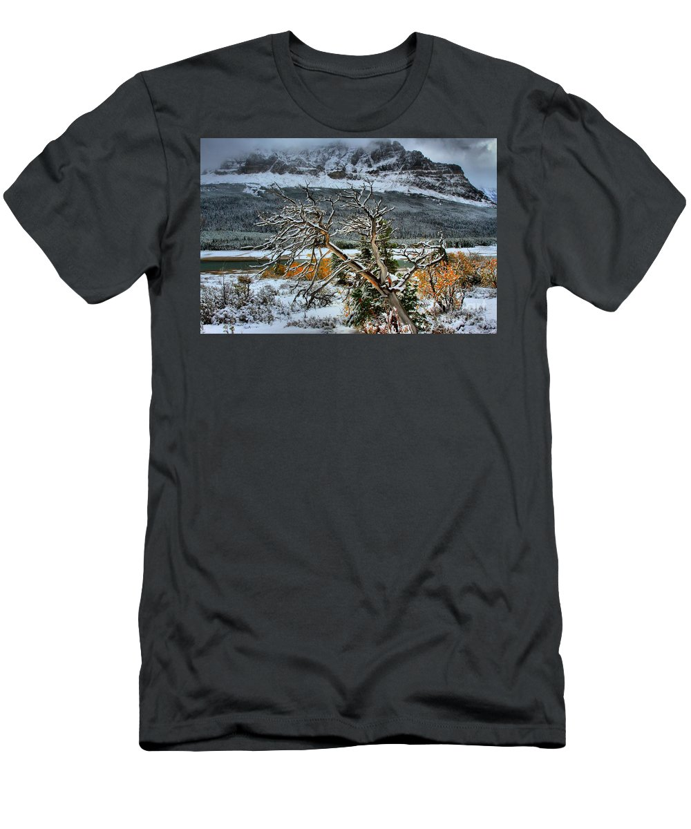 Glacier National Park Men's T-Shirt (Athletic Fit) featuring the photograph Fading Colors by Adam Jewell