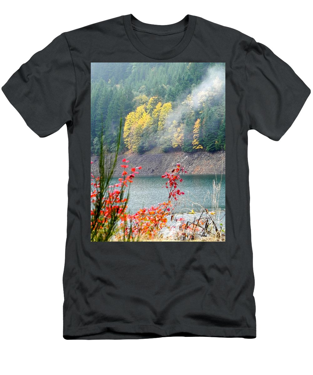 Fall Men's T-Shirt (Athletic Fit) featuring the photograph Fall At The Lake by Linda Hutchins