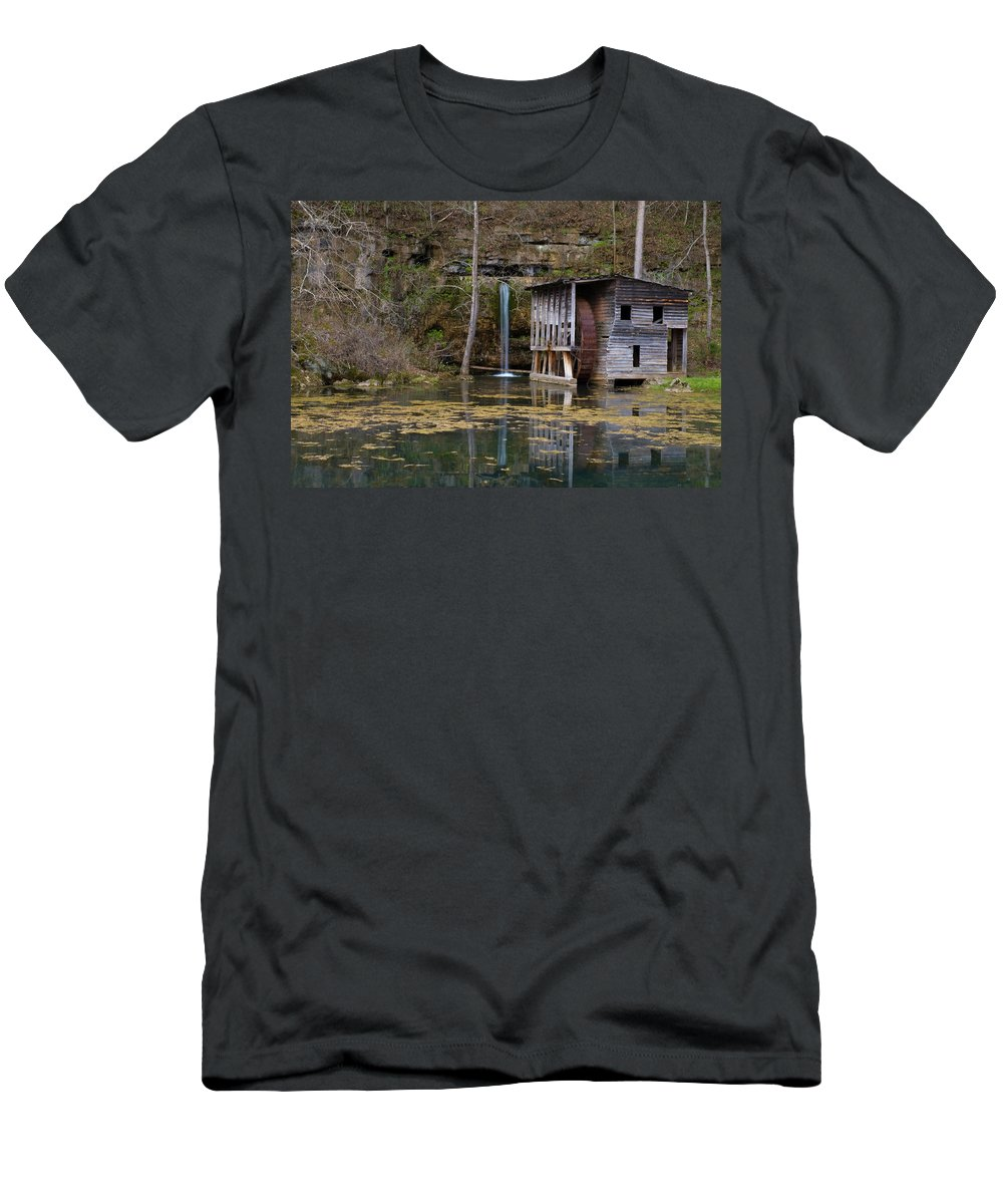 Ozarks Men's T-Shirt (Athletic Fit) featuring the photograph Falling Spring Mill by Steve Stuller