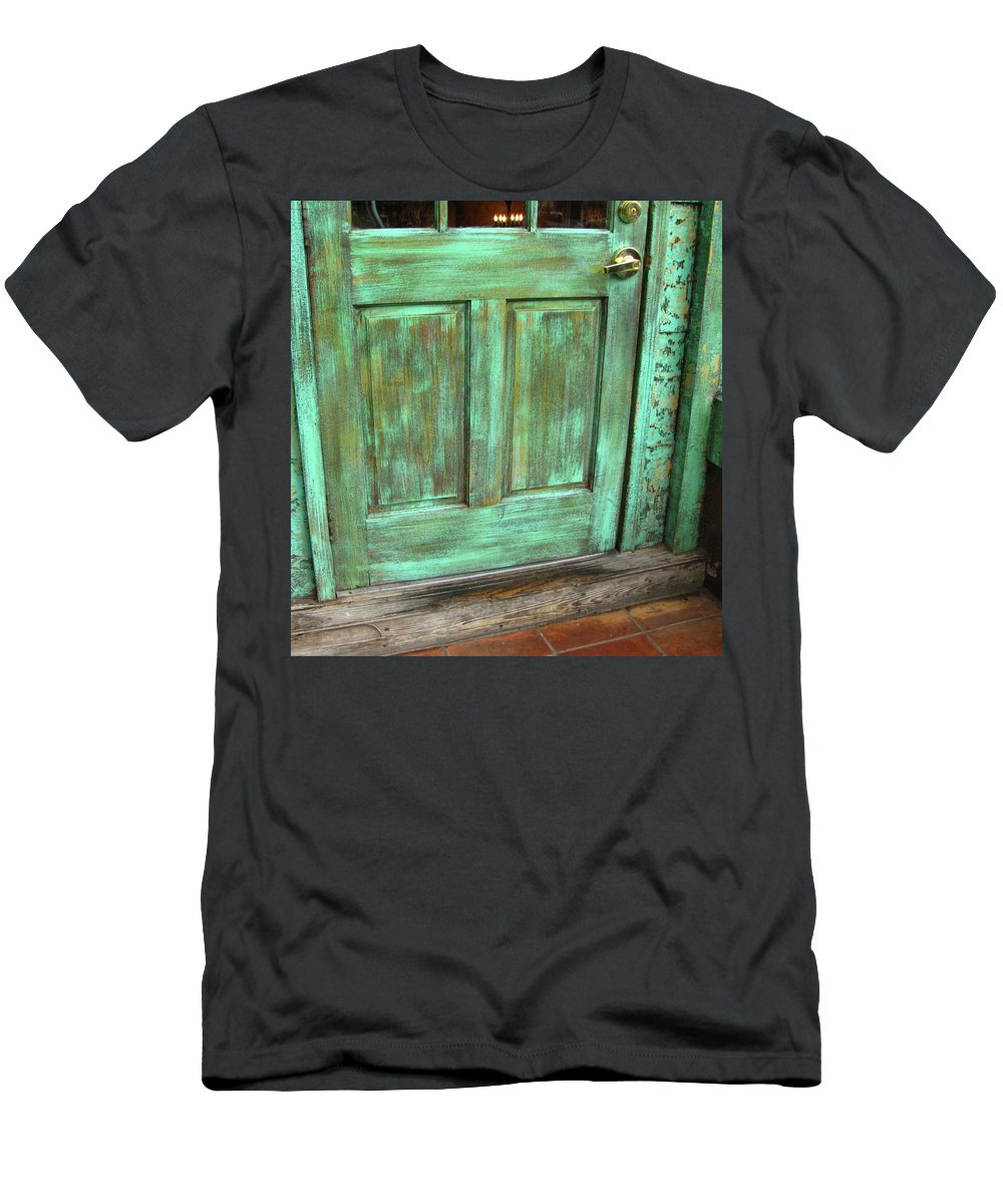 Door Men's T-Shirt (Athletic Fit) featuring the photograph Faux Door by Denise Keegan Frawley